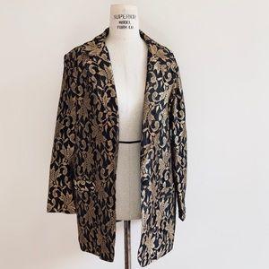 Vintage Glam Gold Brocade Lace Oversized Blazer